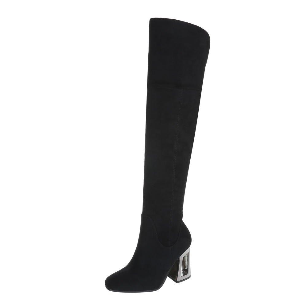 Ital-Design Overknees Damenschuhe Overknees Pump High Heels Reißverschluss Stiefel  40 EU Schwarz