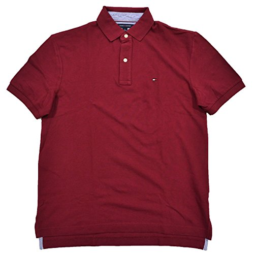 Tommy Hilfiger Mens Mesh Classic Fit Polo Shirt (S, Burgundy) (Classic Mesh Polo Red)