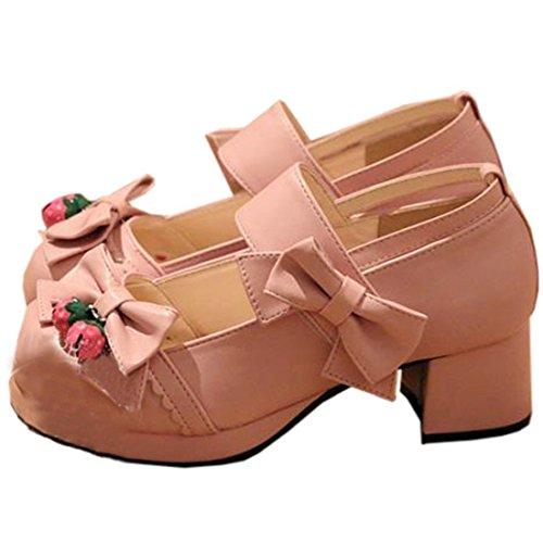 Partiss Damen Sweet Lolita Wedge Shoes Japanisch High-top Casual Lolita Pumps Herbst Fruehling Hochzeit Tanzenball Maskerade Cosplay Diestmaedchen Bowknots Platform Pumps Lolita Schuhen Pink
