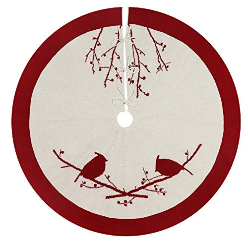 LimBridge Christmas Tree Skirt, 48 inches Knitted Luxury Thick Cardinals Birds Rustic Xmas Holiday Decoration, Cream and Burgundy
