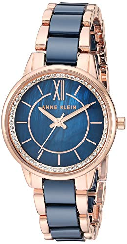 Anne Klein Women's AK/3344NVRG Swarovski Crystal Accented Rose Gold-Tone and Navy Blue Ceramic Bracelet Watch