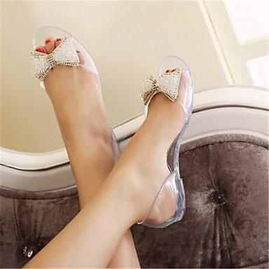 Women'S Heel White Eu36 Black White Uk4 Flat Champagne RTRY Heel Summer Translucent Outdoor Cn36 Beading Casual Sandals Us6 Pu 164Swxg