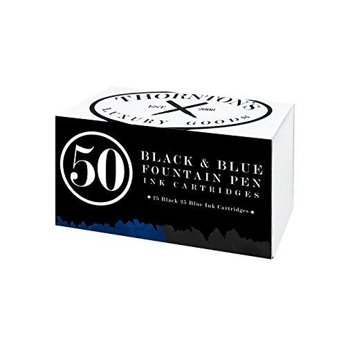 Thornton's Luxury Goods Short Standard International Fountain Pen Ink Cartridges, Pack of 50 (Black & Blue)