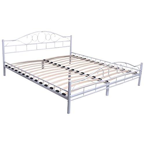 FDS Metallbett Doppelbett mit Lattenrost Bettgestell Bettrahmen140x200cm/180x200cm Metall Bett (140x200cm, Weiss)