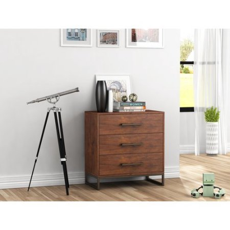 Wood Chest Storage Cabinet with 3 Drawers, Metal Handles and Legs, Sturdy Construction, Keep Your Belongings Organized, Practical, LIving Room, Bedroom, Nursery, Cherry Color
