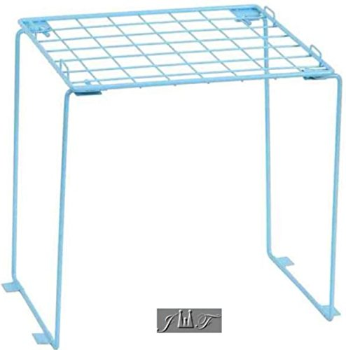 (Freestanding Folding and Stackable Wire Locker Shelf Blue (12