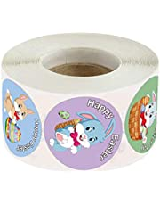KESYOO Easter Bunny Stickers Rabbit Sticker Roll Assortment Happy Easter Label Seal Stickers for Holiday Decorations Supplies Easter Party Favors