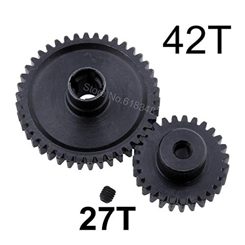 DishyKooker Metal Steel 42T Spur Gear Diff Main & Motor Pinion Gear 27T for A959-B A969-B A979-B K929-B Replacement of A959-B-15 Black