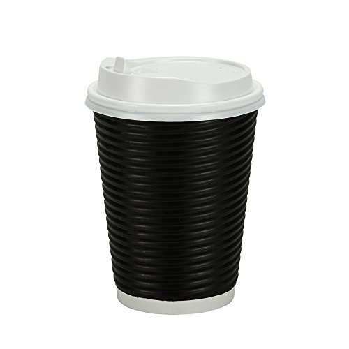 PREMIUM Disposable Hot Paper Cups With Lids, Double Wall & Ripple Insulation For Heat Protection, Black, 30 Count - 12 (Black Hot Cup Lid)