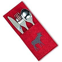 "Cottage Life Sand Felt Polyester Flatware Cutlery Pocket W/ Stitch Moose Red 9"""