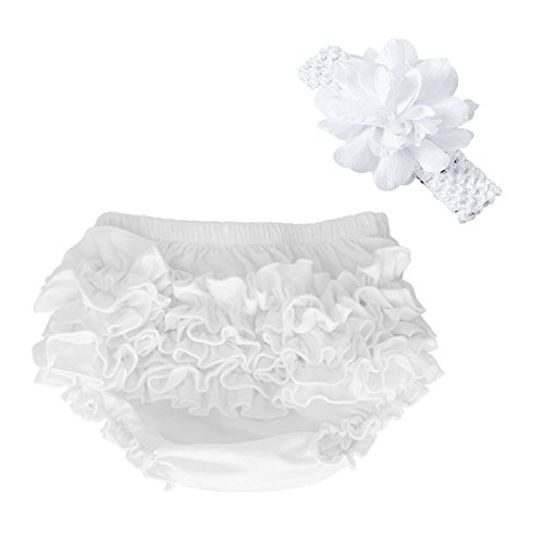 muyan Wholesale Cotton Baby Bloomers Baby Girls Diaper Covers Bloomers Shorts+Headband in Set (White, Newborn(0-3Month))