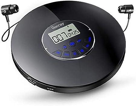 Gueray Bluetooth Reproductor de CD Portátil con batería de Litio de 1400 mAh Incorporada