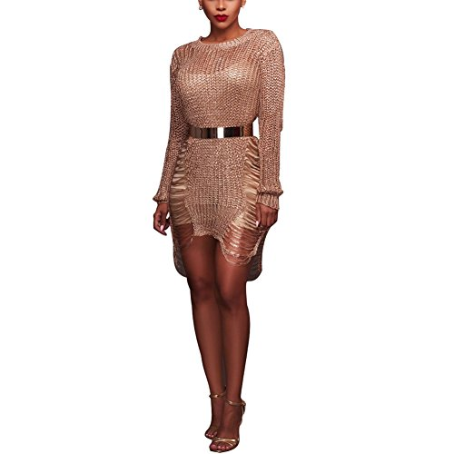 Aro Lora Women's Long Sleeve O Neck See Through Knit Shredded Sweater Party Dress X-Large Rose Gold