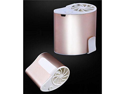 Yunqir Compatible Mini Portable Fan Personal Air USB Rechargeable Conditioning Fan Can Be Worn on The Waist Fan Travel Camping, Outdoor Work, Strong Wind 3 Settings 1200mA(Rose Gold) by Yunqir