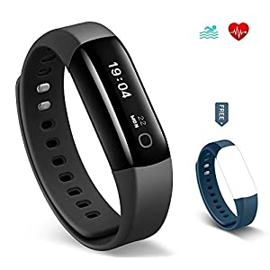 Arbily Fitness Tracker, Vigorun4 Best Activity Tracker Heart Rate Monitor, Swimming Waterproof Fitness Tracker watch/Step Counter/GPS Tracker/Smart Wristband for Android and iOS