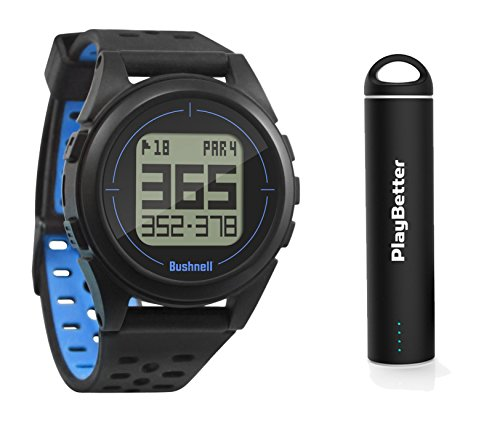 PlayBetter Bushnell ION 2 Golf GPS Watch Bundle Portable USB Charger | Simple, Intuitive Golf GPS Watch | 36,000+ Worldwide Courses | 2018 Version (Black/Blue)