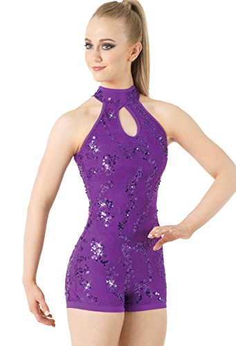 Balera Biketard Girls One Piece For Dance Womens Lace And Sequin Sleeveless Costume Electric Purple Adult Large]()