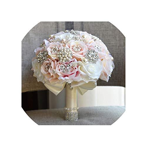 Women Bridal Bouquets Wedding Bouquet Teardrop Butterfly Brooches Bouquet Alternative Cascading Bouquet Crystal Beaded,Beige