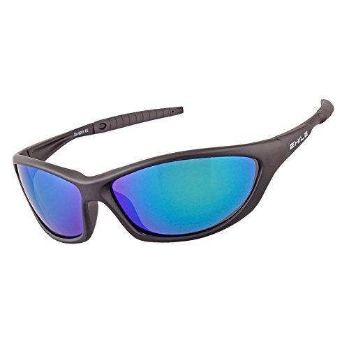 ZHILE TR90 Unbreakable Polarized Sport Wrap Sunglasses for Men and Women 100% UV400 protection Eyewear (Black, Blue-Green - Blue Lenses Sunglasses Or Green