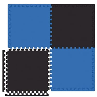 Alessco ESFRBBK0202I Economy Softfloors Tile Set, 2' x 2', Royal Blue/Black