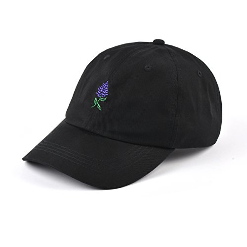 - AUNG CROWN Lavender Embroidered Dad Hat Women Men Adjustable Baseball Cap (Black/Lavender)