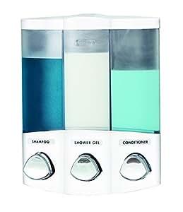 Euro Series TRIO - Dispensador de jabón de tres compartimentos, cromado., plástico ABS, Blanco, 3-Chamber
