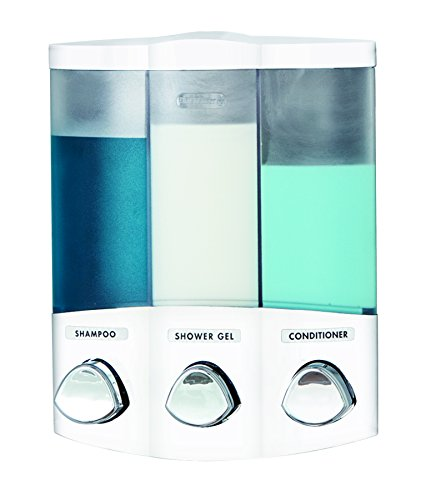 Better Living Products 76354 Euro Series TRIO 3-Chamber Soap and Shower Dispenser, White (Dispenser Mount Liquid Soap)