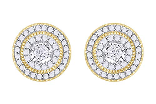 Samaira Jewelry Natural Diamond Accent Round Stud Earrings in 14k Yellow Gold Plated Sterling Silver For Women (0.02 Cttw, I-J Color, I2-I3 Clarity)