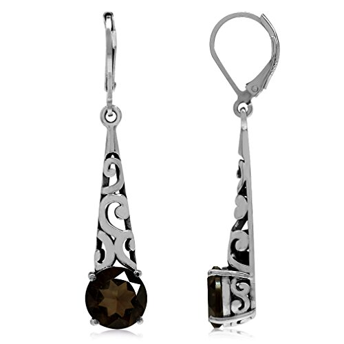 4.8ct. Natural Smoky Quartz 925 Sterling Silver Filigree Cone Shape Dangle Earrings