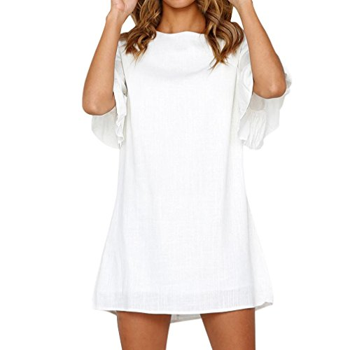 Mini Dresses, FORUU Womens Holiday Solid Horn Sleeve Ladies Summer Beach Party White