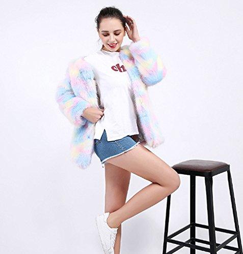 colored Abrigo de de para Piel Moda Multi Sintética Invierno de Abrigo Larga Abrigos Piel Invierno Mujer de Chaqueta Slim AO66UqnCS