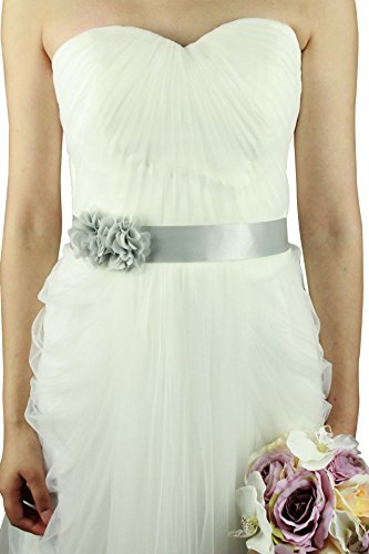 - Simple Flowers Belts/sashes for Wedding/party/bridal Dress (silver)