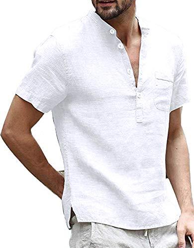 Mens Linen Cotton Henley Shirts Casual Short Sleeve T Shirt Curved Hem Tee Lightweight V Neck Summer Beach -