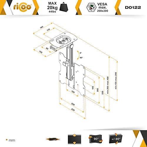 RICOO D0122, Soporte TV Techo, Giratorio, Plegable, Televisión 13-33
