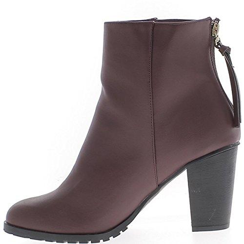 Caviglia stivali donna grandi dimensioni bordeaux a tacco 9 cm in pelle