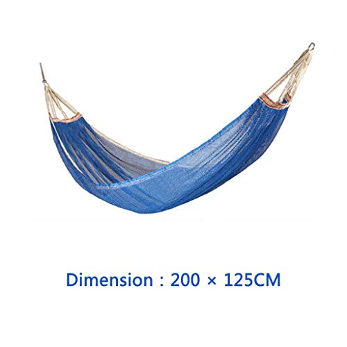 Outdoor Single Ice Mesh Hammock, Selected Fabrics with Strong Load Bearing Capacity,Load Bearing: 270 Pounds (Color : Blue, Size : 200×150cm) (Single Silk 12')