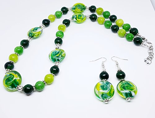 - Round Green Swirl Disc Glass Beads/Round Dyed Quartzite Green Beads/Silver Plated Metal Bead/Silver Small Metal Dot Rondell Duo Set