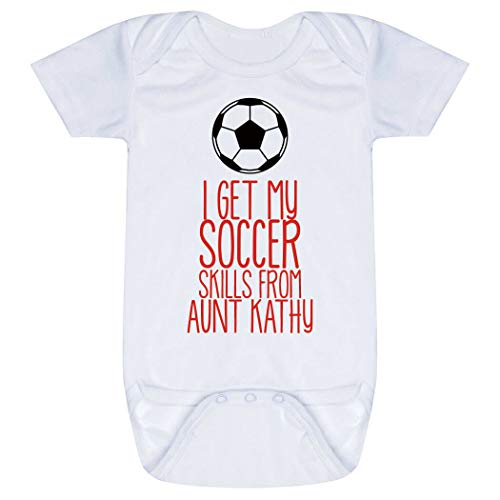 Custom Soccer Baby & Infant Onesie | I Get My Skills from | Red | Small