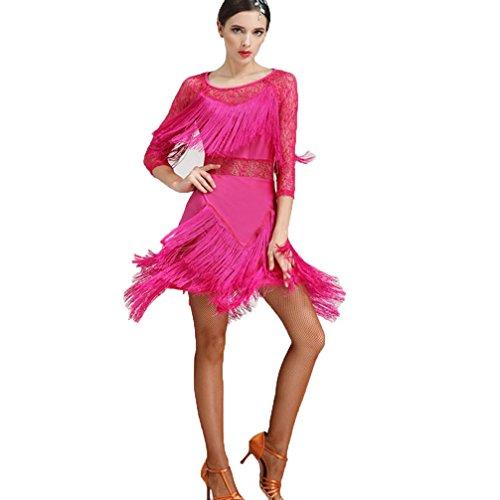 Toi Wqwlf Mi Latine Rosered Pour Danse Costume Dames m Robe Manches Femme Glands Dentelle De long Entraine Compétition Vêtements qwxS1n8qI