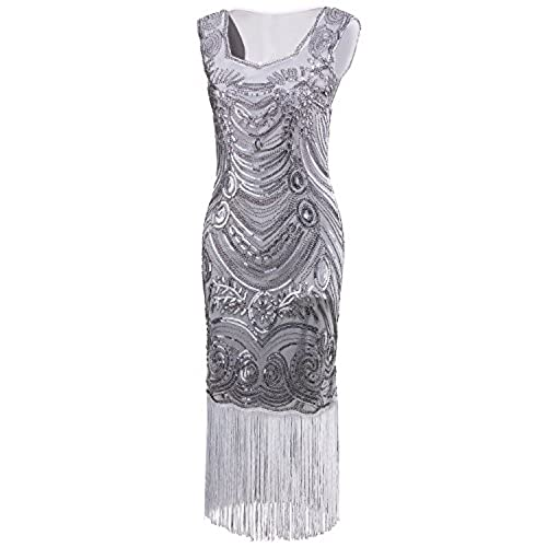 Vijiv Long Prom Vintage Fringe Sequin Art Nouveau Deco Flapper 1920s Dress