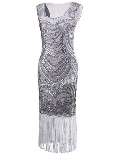 1920's Art - Vijiv Long Prom Vintage Fringe Sequin Art Nouveau Deco Flapper 1920s Dress