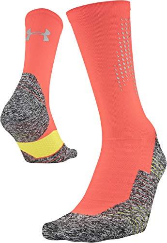 Under Armour Run Cushion Reflective Crew Socks (1 Pair), Afterburn Orange, Large