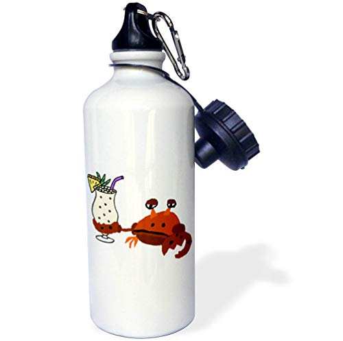 3dRose All Smiles Art - Drinking - Funny Cute Crab Drinking Pina Colada Beach Cartoon - 21 oz Sports Water Bottle (wb_316999_1)