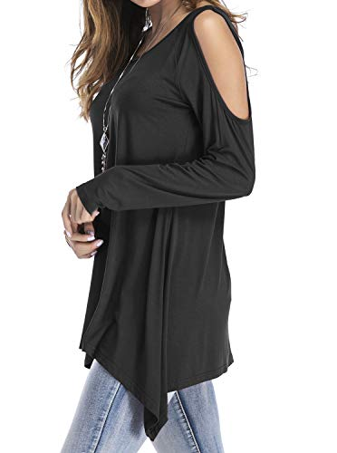 e28383d4c9e0 Adreamly Women's Cold Shoulder Long Sleeve Swing Loose Fit T-Shirt Tunic  Tops Black Small