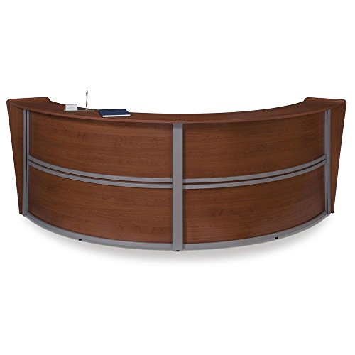 Marque Curved Double Reception Station - 124.25''W x 49''D Cherry/Silver Accents Dimensions: 124.25''W x 49''D x 45.5''H Weight: 250 lbs. by OFM