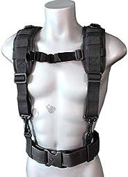 Melo Tough Tactical Outdoor H-Harness Duty Belt Suspenders (Black)