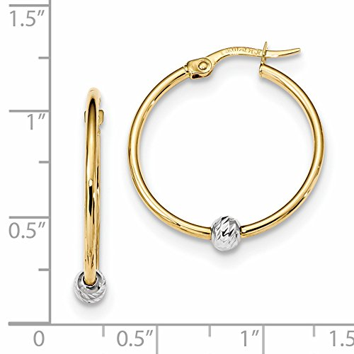 ICE CARATS 14k Two Tone Yellow Gold Hoop Earrings Ear Hoops Set Fine Jewelry Gift Set For Women Heart by ICE CARATS (Image #2)