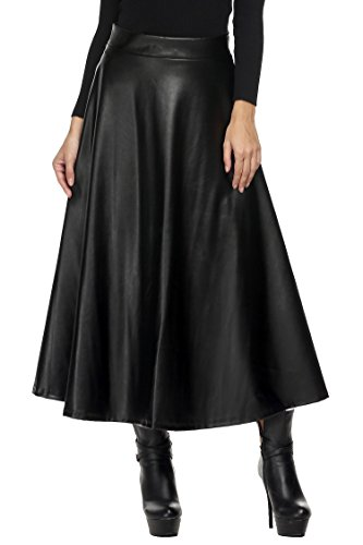 Etuoji Women High Waisted skirts Full Long pleated A line Synthetic Leather Swing Maxi Skirt