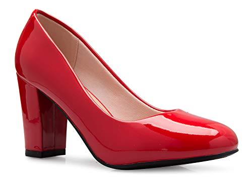 OLIVIA K Women's Classic Round-Toe Platform Pumps High Block Heel - Adorable, Comfortable