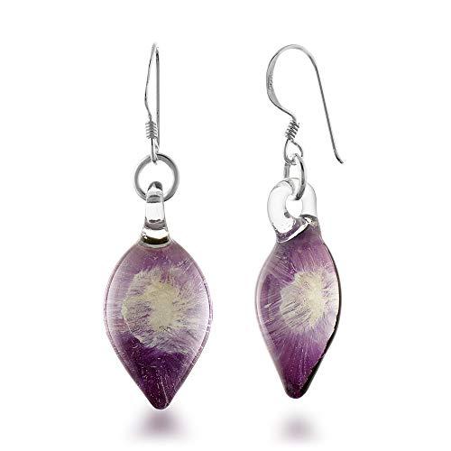 Purple Glass Teardrop Earrings - 925 Sterling Silver Hand Blown Murano Glass Purple Orchid Flower Teardrop Dangle Earrings